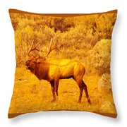 Bull Elk Calling Out Throw Pillow