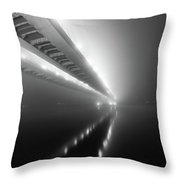 Cable-stayed Bridge Over River In Fog Throw Pillow
