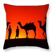 Camels At Sunset Throw Pillow