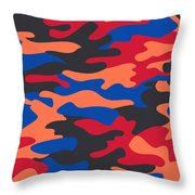 Camouflage Pattern Background Seamless Clothing Print, Repeatabl Throw Pillow