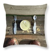 Canned Meal At A Camping Trip Throw Pillow
