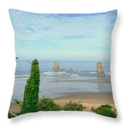 Cannon Beach, Oregon Throw Pillow