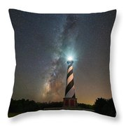 Cape Hatteras Lighthouse Milky Way Throw Pillow