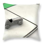 Car Icon On A Boardgame Throw Pillow