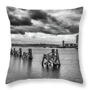 Cardiff Bay Panorama Mono Throw Pillow