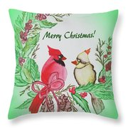 Cardinals Painted By Debbie Woodrow Throw Pillow