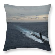 Carrier Strike Group Formation Of Ships Throw Pillow