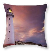 Castle Point Lighthouse Throw Pillow