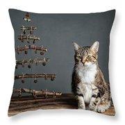 Cat Christmas Throw Pillow