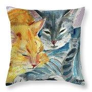 Kitty And Kat Throw Pillow