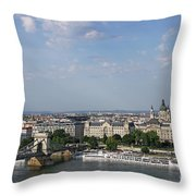 Chain Bridge On Danube River Budapest Cityscape Throw Pillow