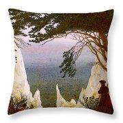 Chalk Cliffs On Rugen  Throw Pillow