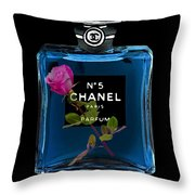 Chanel With Rose Throw Pillow