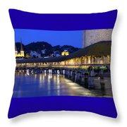 Chapel Bridge Or Kapellbrucke, Lucerne, Switzerland Throw Pillow