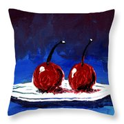 2 Cherries On A White Plate Throw Pillow