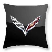 Chevrolet Corvette 3d Badge On Black Throw Pillow