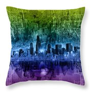 Chicago Skyline Abstract Throw Pillow