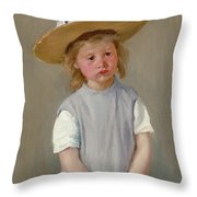 Child In A Straw Hat Throw Pillow