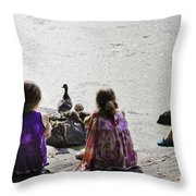 Children At The Pond 5 Throw Pillow
