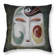 Chinese Porcelain Mask Grunge Throw Pillow