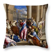 Christ Driving The Money Changers From The Temple Throw Pillow