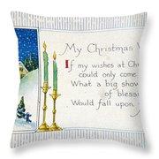 Christmas Postcard Throw Pillow