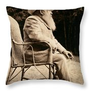 Claude Monet In His Garden Throw Pillow