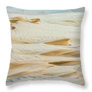 Close-up Of Beautiful Sunlit Ripple Surface Of Sand In Desert  Throw Pillow