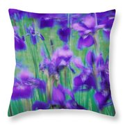 Close-up Of Purple Flowers Throw Pillow