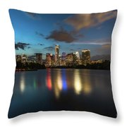 Clouds Roll Over The Austin Skyline As The Neon Reflects In The Glass-like Waters Of Lady Bird Lake Throw Pillow