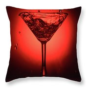 Cocktail Glass With Splashes On Red Background Throw Pillow