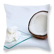 Coconut Oil And Coconut Throw Pillow