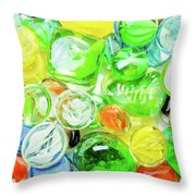 Colored Glass Beads On White Background Throw Pillow