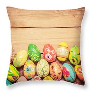Colorful Hand Painted Easter Eggs On Wood Throw Pillow