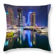 Colorful Night Dubai Marina Skyline, Dubai, United Arab Emirates Throw Pillow
