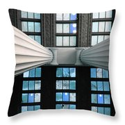 2 Column Stain Blue Throw Pillow