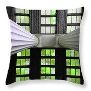 2 Column Stain Green Throw Pillow