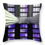 2 Column Stain Purple Throw Pillow