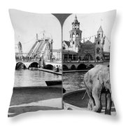 Coney Island: Luna Park Throw Pillow