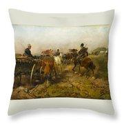 Cossacks Returning Home On Horseback Throw Pillow