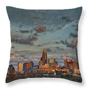 Cotton Candy Sky Over Charlotte North Carolina Downtown Skyline Throw Pillow