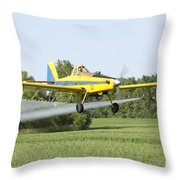 Crop Dusting Plane Throw Pillow