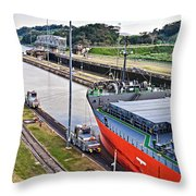 Crossing Panama Canal Throw Pillow