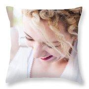Cute Curly Blond Girl  Throw Pillow