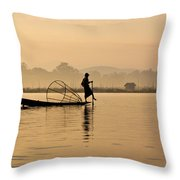 Dawn On Inle Lake Throw Pillow