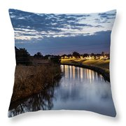 Dawn Over The Town River Throw Pillow