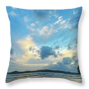 Dawn Seascape With Cloudy Sky Throw Pillow