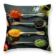Delicious  Portion Of  Fresh Salmon Fillet  With Aromatic Herbs, Throw Pillow