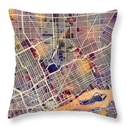 Detroit Michigan City Map Throw Pillow