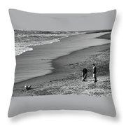 2 Dogs 2 Men Beach  Throw Pillow